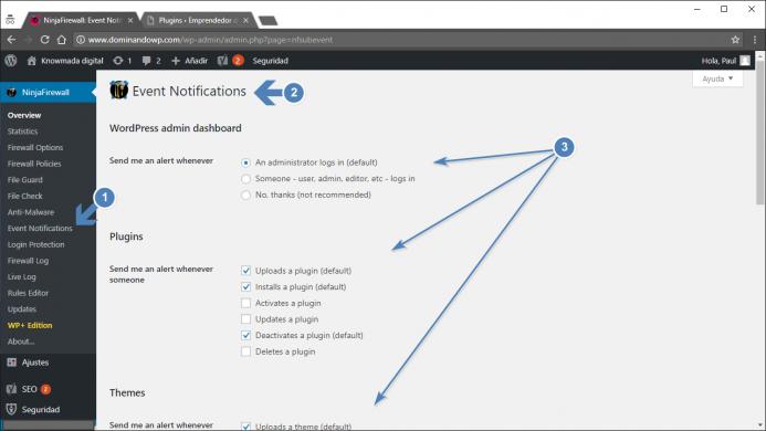 """Opciones de configuración de """"Events notifications"""" de NinjaFirewall. La notificación de eventos."""