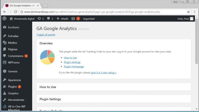 Página de opciones de configuración del plugin GA Google Analytics