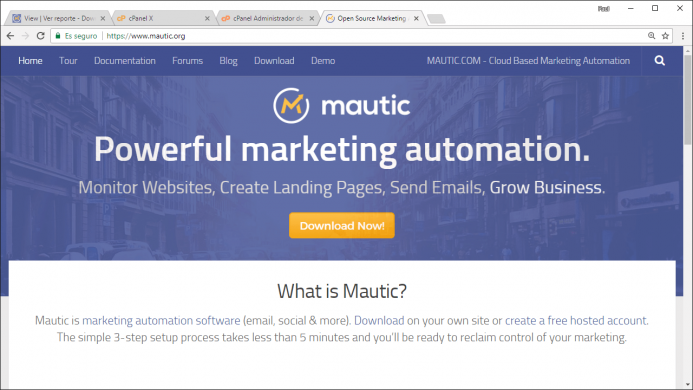 Página web www.mautic.org para descargarte la aplicación.