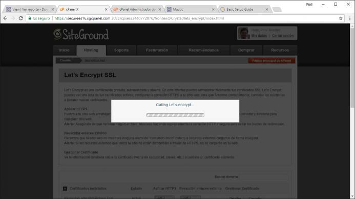 Proceso de instalación del certificado de let´s enctrypt