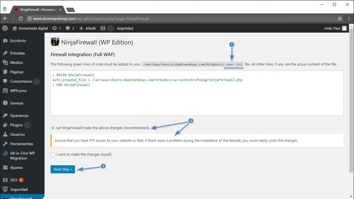 Se va crear el archivo .user.ini para activar el modo Full WAF de NinjaFirewall