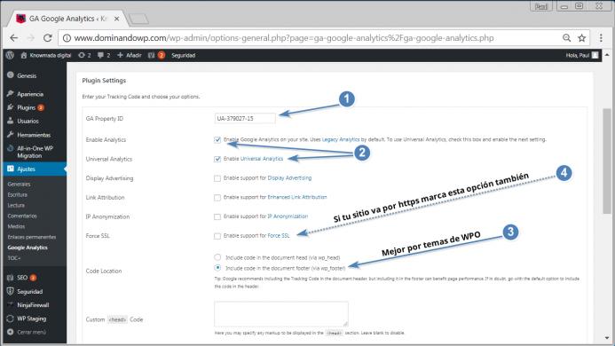 Opciones que tienes que configurar en GA Google Analytics