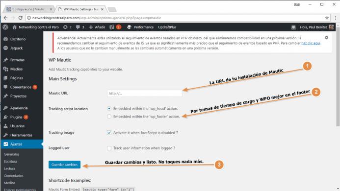 Configura el plugin de WordPress para Mautic con la opciones que te indico.
