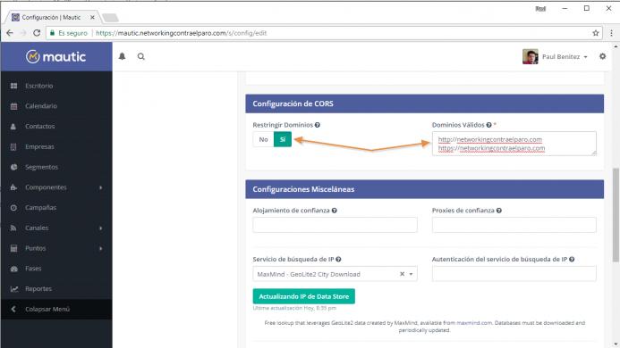 Define tu dominio en la configuración CORS para evitar usos no legítimos de tu plataforma.