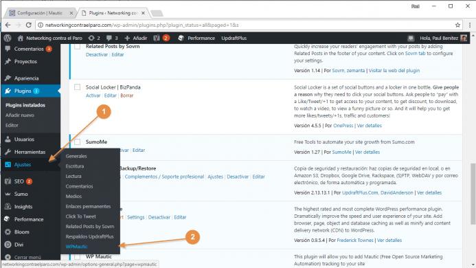 Localiza las opciones de configuración del plugin de Mautic para WordPress