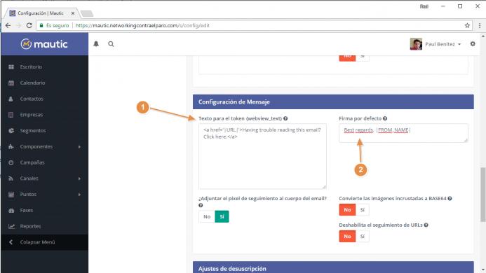 Traduce los textos en la opción de configuración del mensaje de correo electrónico de Mautic.