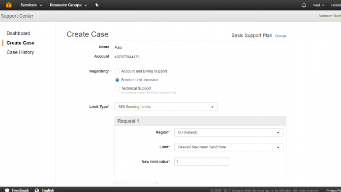 Abre un caso de soporte e indica que deseas emplear el servicio para enviar correos a tus suscriptores.