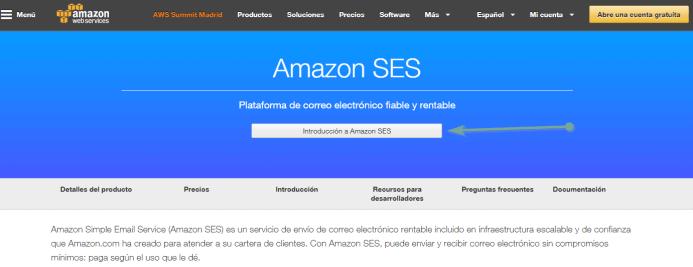 Acceso a la página de contratación del servicio Amazon SES