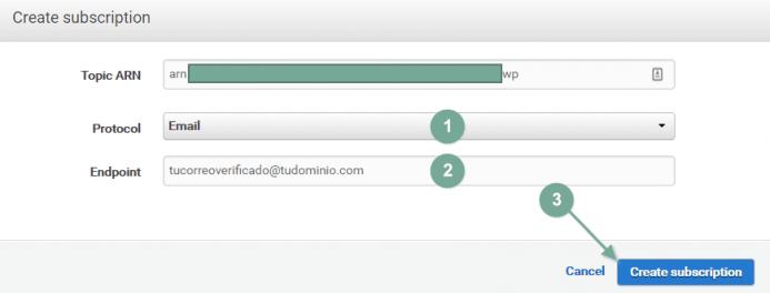 Cambia a protocolo email e introduce la cuenta de correo en el campo endpoint