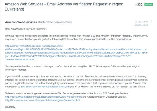 Correo que recibes desde Amazon para verificar tu cuenta de correo