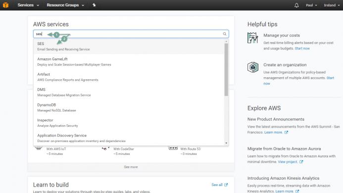Desde el panel de control de de tu cuenta de Amazon, localiza la consola de administración del servicio Amazon SES
