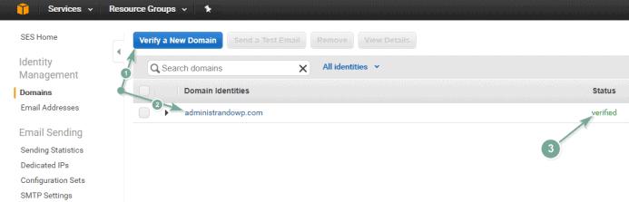 Verifica el dominio que vas a emplear conjuntamente con Amazon SES.