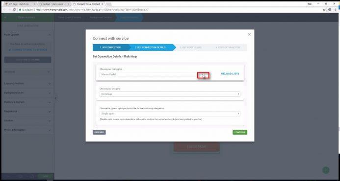 Configura los detalles de la conexión con el servicio