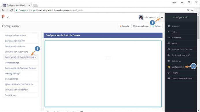 Como acceder a las opciones de configuración del correo en Mautic