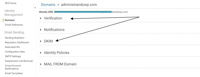 Localiza los registros DKIM y TXT en Amazon SES. Guía para configurar amazon ses con mautic