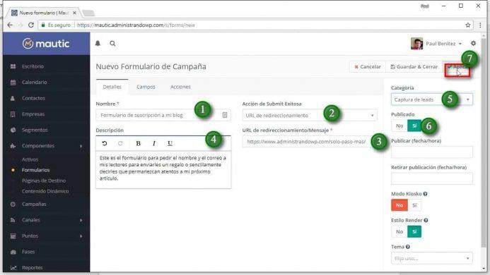 Completa los detalles del formulario de Mautic orientándote por la imagen