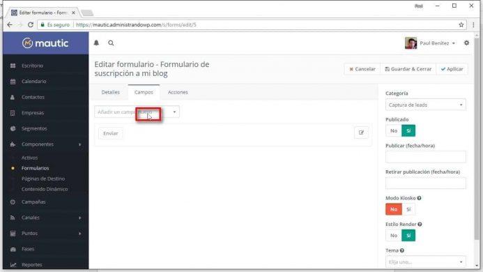 Añadir campos a tu formulario de suscripción de Mautic