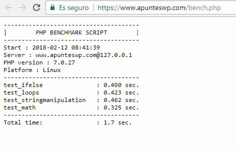Detalle de los resultados obtenidos con el script bench.php para el dominio www.apunteswp.com alojado en Vultr