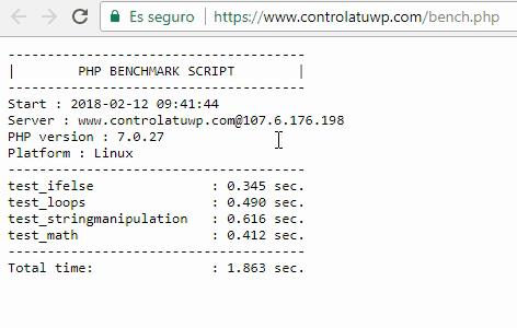 Detalle de los resultados obtenidos con el script bench.php para el dominio www.controlatuwp.com alojado en FastComet