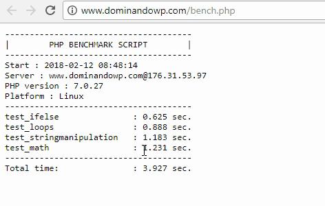 Detalle de los resultados obtenidos con el script bench.php para el dominio www.dominandowp.com alojado en Endeos