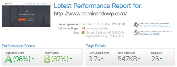 Detalle de los resultados obtenidos en GTmetrix para el dominio www.dominandowp.com alojado en Endeos