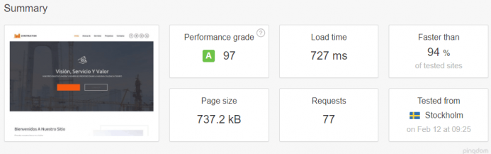 Detalle de los resultados obtenidos en Pingdom Tools para el dominio www.controlatuwp.com alojado en FastComet desde Estocolmo