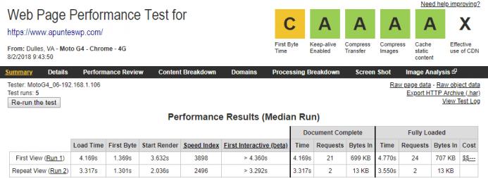Detalle de los resultados obtenidos en webpagetest para el dominio www.apunteswp.com alojado en Vultr desde un dispositivo móvil