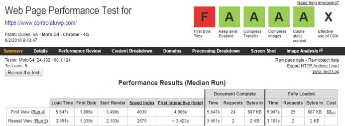 Detalle de los resultados obtenidos en webpagetest para el dominio www.controlatuwp.com alojado en FastComet desde un dispositivo móvil
