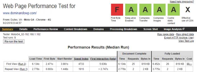 Detalle de los resultados obtenidos en webpagetest para el dominio www.dominandowp.com alojado en Endeos desde un dispositivo móvil