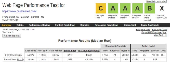 Detalle de los resultados obtenidos en webpagetest para el dominio www.paulbenitez.com alojado en SiteGround desde un dispositivo móvil