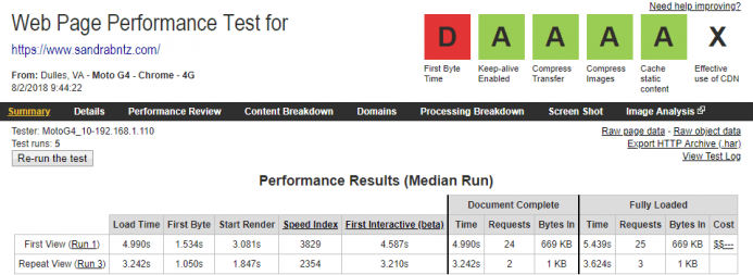 Detalle de los resultados obtenidos en webpagetest para el dominio www.sandrabntz.com alojado en Contabo desde un dispositivo móvil