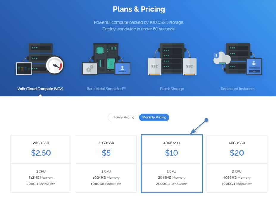 Detalle del precio y las prestaciones del servidor VPS empleado en Vultr
