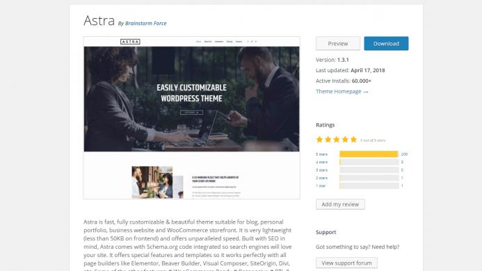 Astra es un tema WordPress gratis con más de 60.000 instalaciones activas y con un ratio de opiniones de 5 sobre 5.