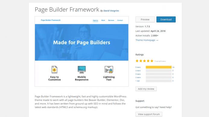 Page Builder Framework es una plantilla WordPress gratis con más de 2000 instalaciones activas y un ratio de valoraciones de 5 sobre 5.