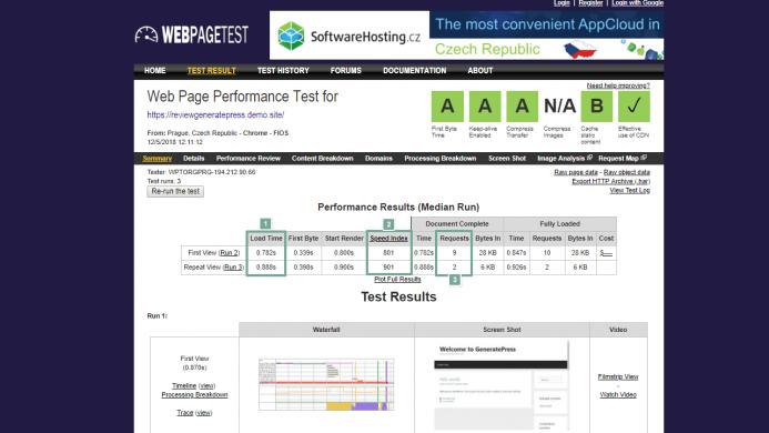 Los 4 mejores temas WordPress gratis. Detalle del resultado del tiempo de carga GeneratePress en un test de webpagetest.org
