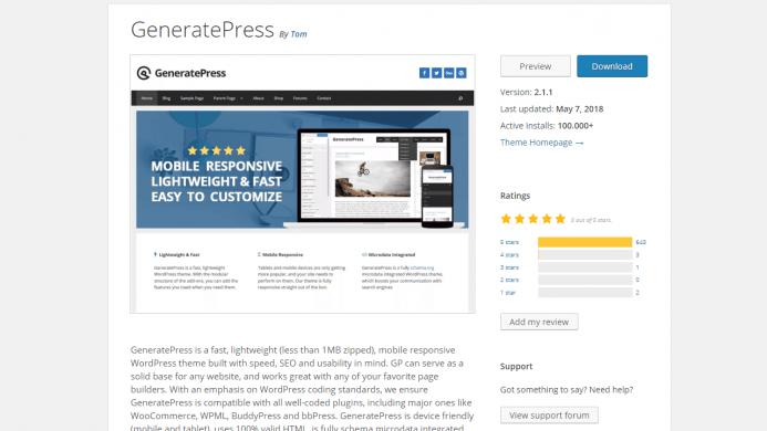 GeneratePress es un tema WordPress gratis con más de 100.000 instalaciones activas y con un ratio de opiniones de 5 sobre 5.