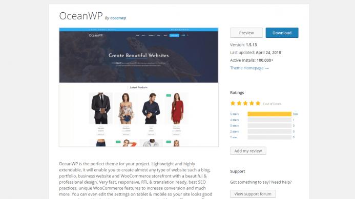 OceanWP es una plantilla WordPress gratis con más de 100.000 instalaciones activas y con un ratio de opiniones de 5 sobre 5.