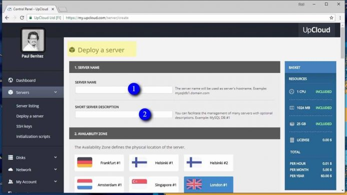 Define el nombre y una descripción corta de un nuevo servidor en UpCloud