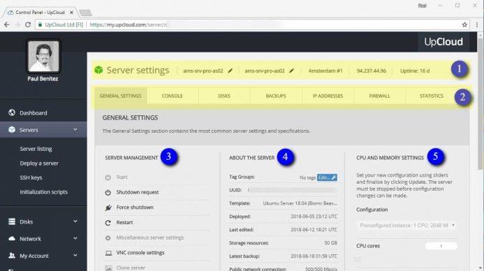 Desglose de datos de tu servidor y herramientas de configuración en tu cuenta de UpClound