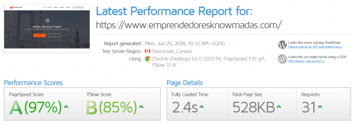 Detalle de los resultados de un test de velocidad realizado con pingdom tools en UpCloud y el dominio www.emprendedoresknowmadas.com