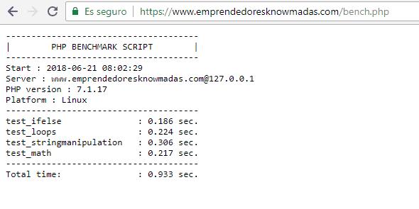 Detalle de los resultados obtenidos ejecutando el script bench.php en UpCloud con el dominio www.emprendedoresknowmadas.com