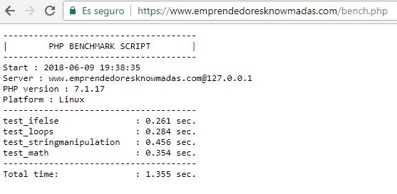 Detalle de los resultados obtenidos ejecutando el script bench.php en clouding.io