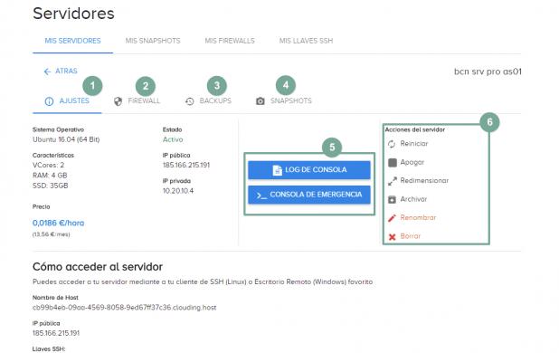 En esta imagen se muestran las opciones disponibles de un servidor VPS en la nube de clouding.io. Ajustes, firewall, backups, snapshots, botones de acceso al log del servidor y a la cosola, botón de acciones del servidor.