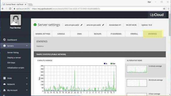 Estadísticas de tu servidor en tu cuenta de UpCloud