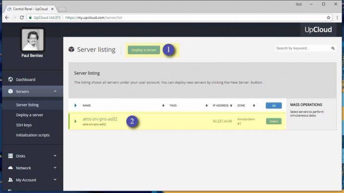 Lista de servidores en tu cuenta de UpCloud