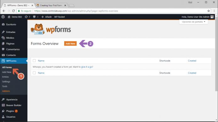Añadir un nuevo formulario con WPForms