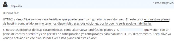 No es posible configurar http2 ni keep Alive en la cuenta de hosting que tienes contratada