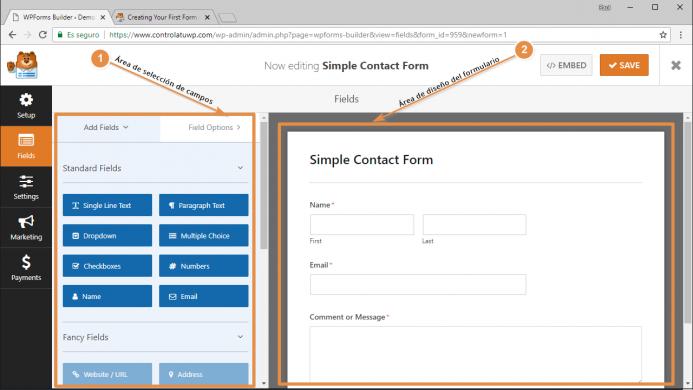 Formulario de contacto sencillo generado con WPForms