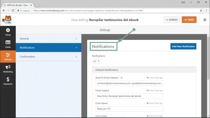 Opciones de configuración para las notificaciones de tu formulario