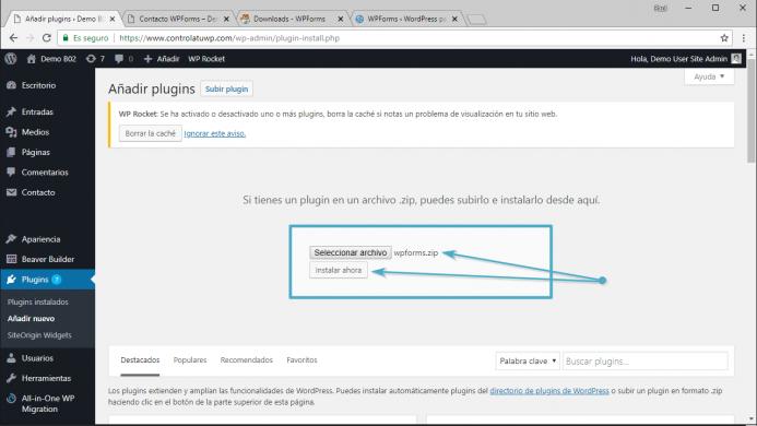 Como instalar WPForms en su versión comercial. Sube el archivo descargado a tu WordPress y haz clic en instalar ahora